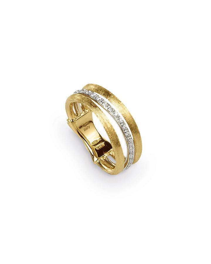 Jaipur Link 18k Gold Diamond Three-row Ring,