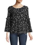 Simple Ditsy Bell-sleeve Blouse