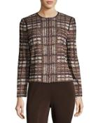 Plaid Zip-front Jacket, Brown/multi