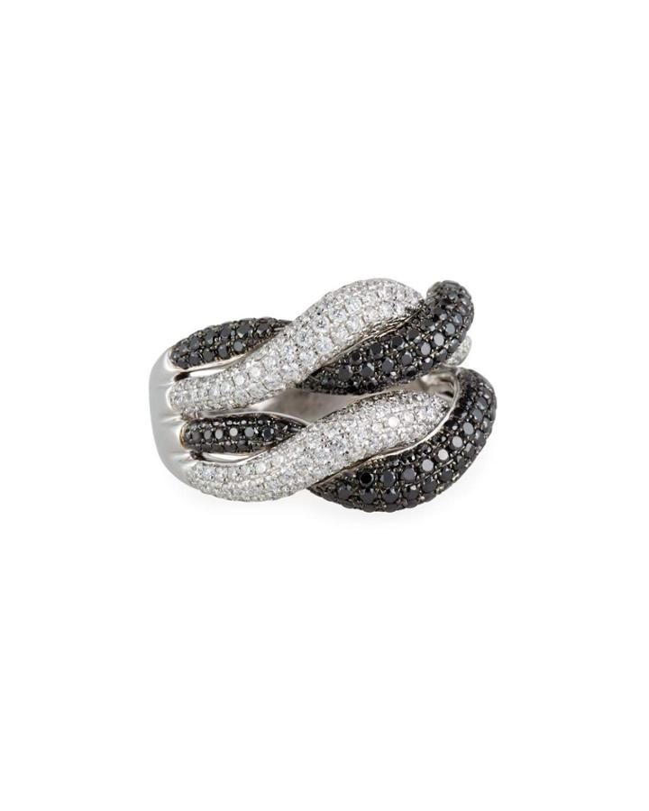 18k Woven Diamond Ring,