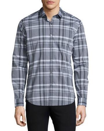Zack Plaid Long-sleeve Sport Shirt, Black