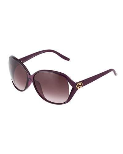 Plastic Butterfly Sunglasses, Burgundy