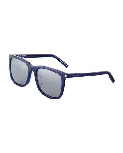 Plastic Square Sunglasses, Blue