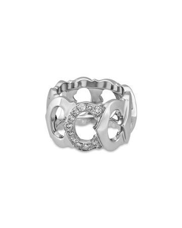 Estate 18k White Gold C-diamond Ring,