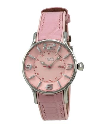 Alligator-strap Stainless Steel Watch, Pink