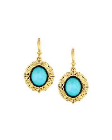 18k Turquoise & Moonstone Doublet Drop Earrings W/ Diamonds