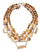 Beaded Citrine, Jasper & Agate Necklace