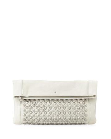 Ash Domino Studded Fold-over Clutch Bag, Winter White