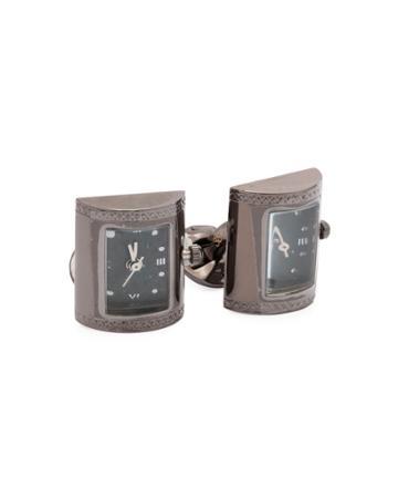 Clock Cufflinks W/ Topaz Back