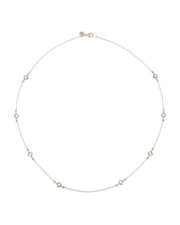 18k Lisse Cushion Necklace, White Topaz