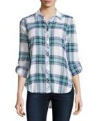 Long-sleeve Plaid Button Blouse