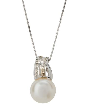 14k White Gold Asymmetric Bale & Pearl Pendant Necklace