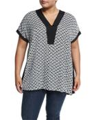 Banded Neckline Triangle-print Blouse,