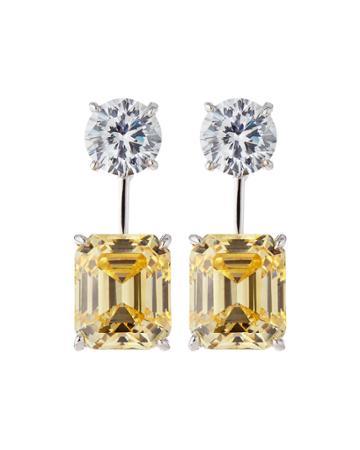 18k Gold-plated Two-tone Cz Drop Earrings