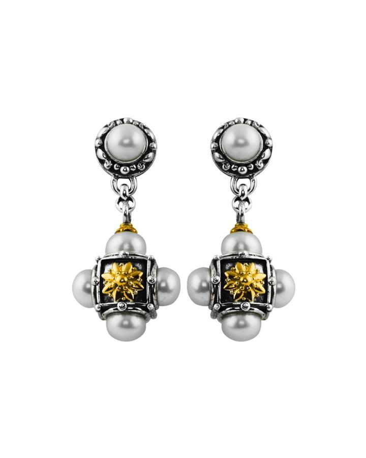 Konstantino Silver & 18k Multi-pearl Cross Drop Earrings, Women's, White