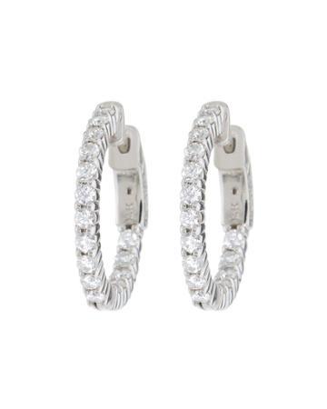 14k White Gold Hoop Earrings With Diamonds