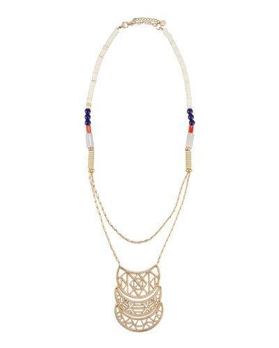 Long Golden Beaded Crescent Pendant Necklace,