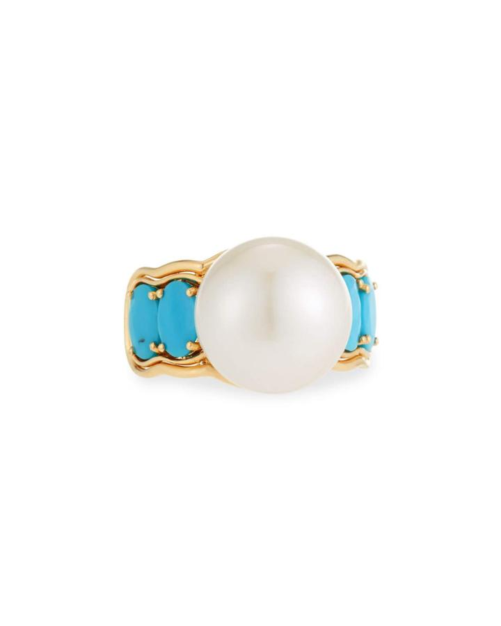 18k Turquoise & White Pearl Ring,