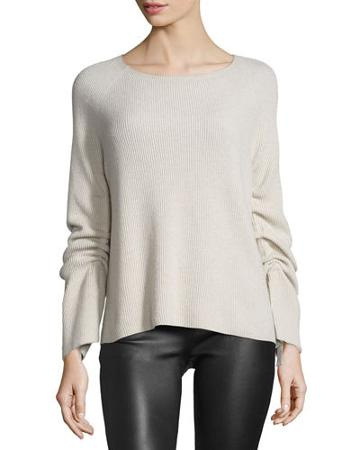 Ribbed Ruched-sleeve