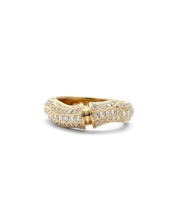 Estate 18k Yellow Gold Bamboo Diamond Ring,