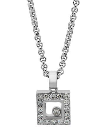 Estate 18k White Gold Diamond Happy Heart Necklace