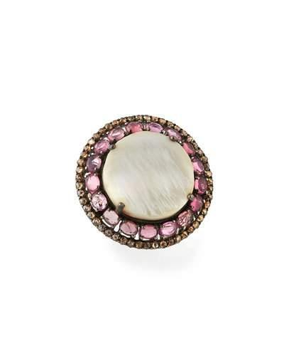 Round Mother-of-pearl, Tourmaline & Diamond Cocktail Ring,
