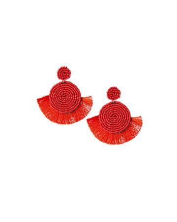 Circular Seed Bead & Fringe Earrings, Red