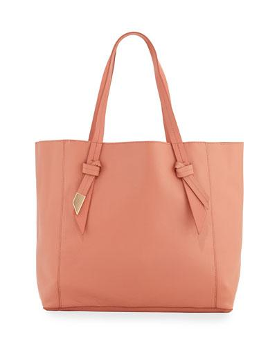 Ashlyn Leather Tote Bag, Toasted Peach/azul/crackle