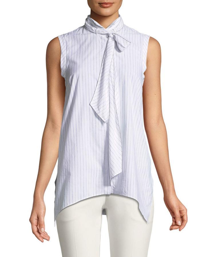 Sleeveless Striped Tie-neck