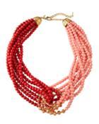 Interlocking Bead Necklace, Pink/orange