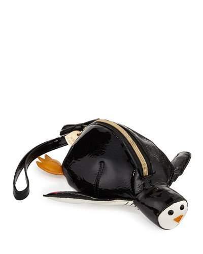 Penguin Faux-leather Wristlet, Black
