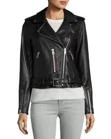 Leather Belted Moto Jacket, Black