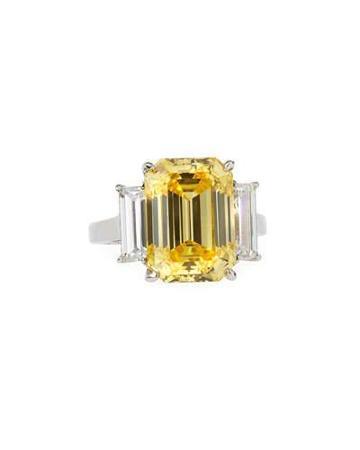 Emerald-cut Canary Cz Ring W/ Baguettes