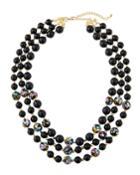 Black Floral Multi-strand Necklace