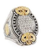 Asteri Ornate Oval Pave White Diamond Ring,