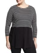 Curb Striped Relaxed Top, Black,