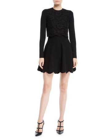 Long-sleeve Stretch-viscose Mini Knit Dress W/ Heavy