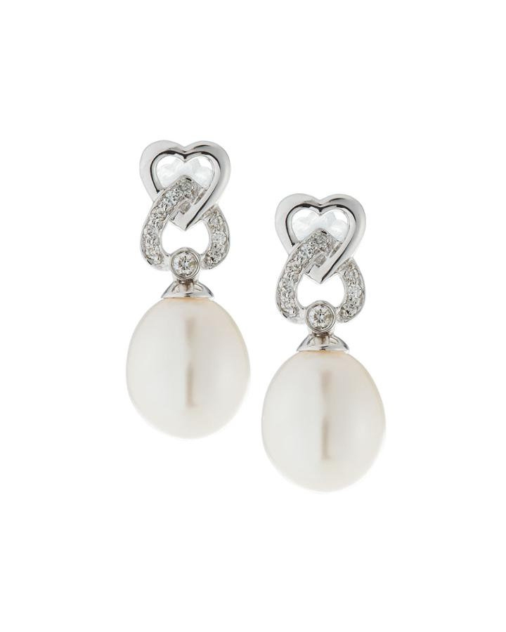 14k White Gold Double-heart & Pearl Earrings