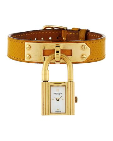 Estate Kelly Watch W/ Leather, Gold/yellow
