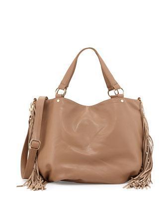 Deux Lux Faux-leather Fringe East-west Tote Bag, Camel