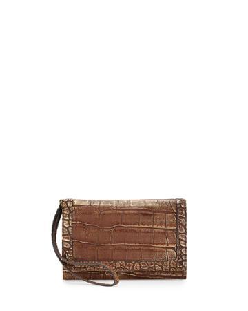 Neiman Marcus Crocodile-embossed Cell Phone Wristlet, Bronze, Women's