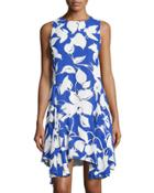Printed Sleeveless Godet Dress