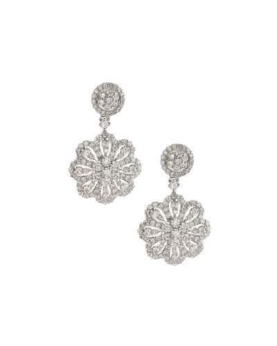 18k White Gold Diamond Flower Drop Earrings,