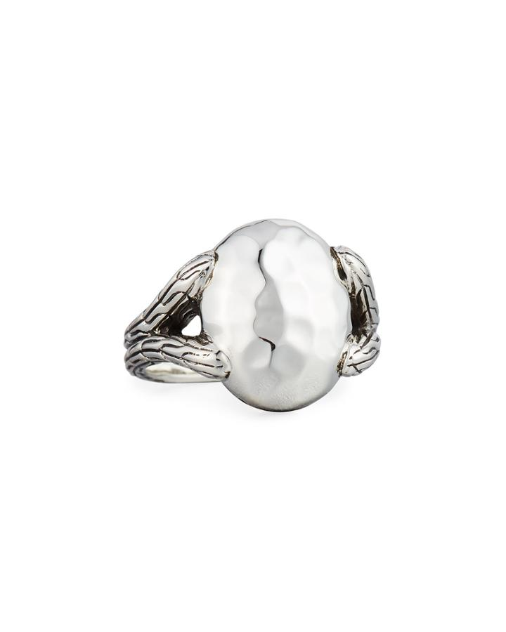 Classic Chain Hammered Oval Ring,