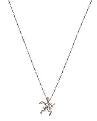 18k White Gold Stella Star Pendant Necklace W/ Diamonds