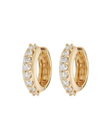14k Diamond Huggie Hoop Earrings