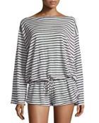 Solana Striped Linen Romper Coverup, Black/white