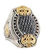 Asteri Ornate Oval Pave Black Diamond Ring,