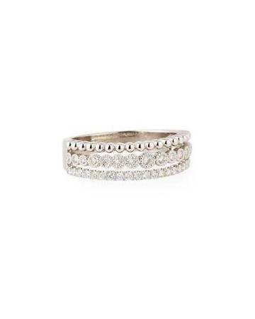 Illusion-stacked Three-row Ring With Diamonds,