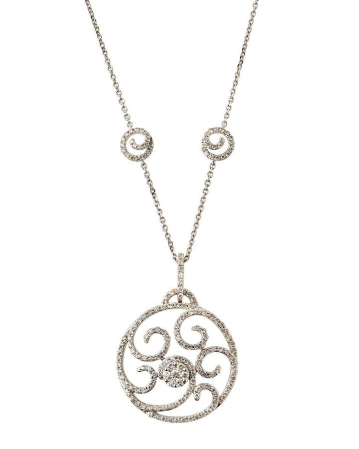 18k White Gold Diamond Swirly Pendant Necklace